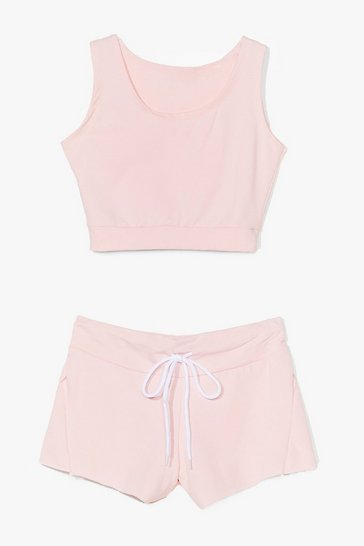 Pink You and Me Crop Top and Shorts Set