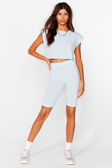 Baby blue Best I Ever Pad Top and Biker Shorts Set