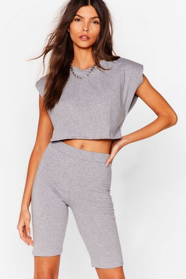 Grey marl Best I Ever Pad Top and Biker Shorts Set