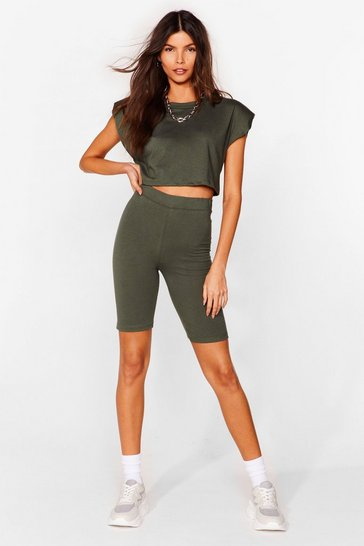 Khaki Best I Ever Pad Top and Biker Shorts Set