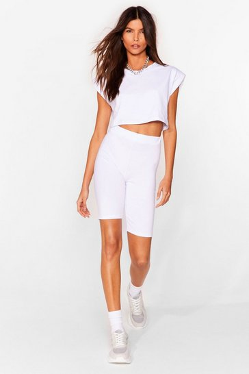 White Best I Ever Pad Top and Biker Shorts Set