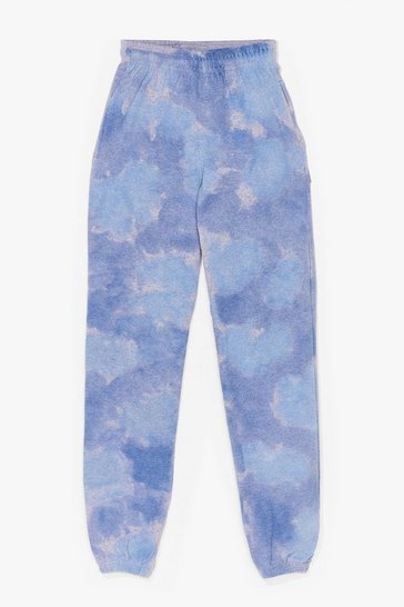 Blue Head in the Clouds High-Waisted Tie Dye Joggers