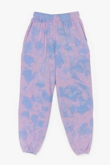 Purple Head in the Clouds High-Waisted Tie Dye Joggers