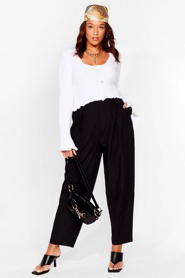 Black Plus Size Pleat Detail Tapered Trousers
