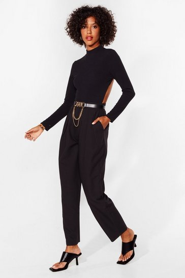 Black Pleated High Waisted Tapered Trousers