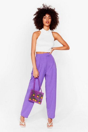 Purple Turn the Pleat Around High-Waisted Tapered Pants