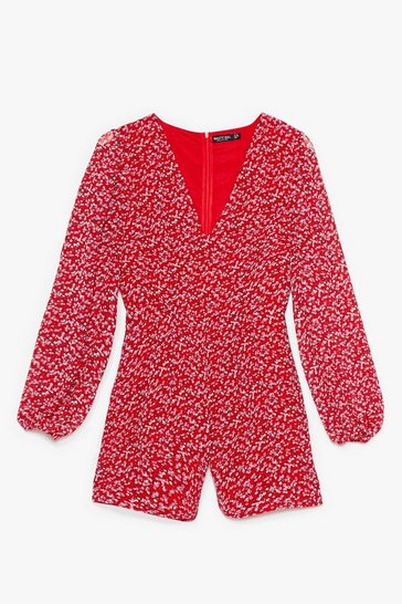 Red Grow All Out Relaxed Floral Romper
