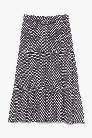 Black Gingham Hell Tiered Maxi Skirt
