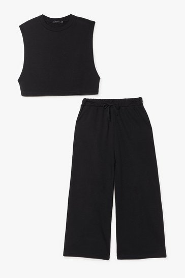 Black It's Up to Tee Cropped Tank Top and Pants Set
