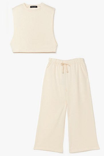 Sand It's Up to Tee Cropped Tank Top and Pants Set
