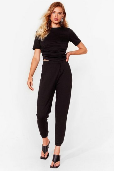 Black Ruched T-Shirt And SweatTrousers Set