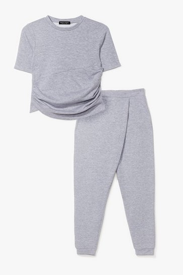 Grey Ruched T-Shirt And SweatTrousers Set