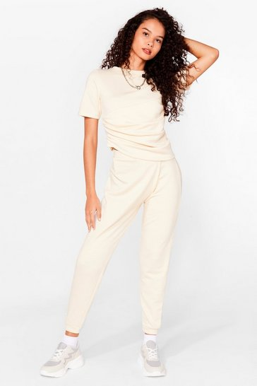 Sand Ruched T-Shirt And SweatTrousers Set