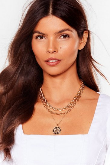 Gold Coin the Club Layered Rope Chain Necklace