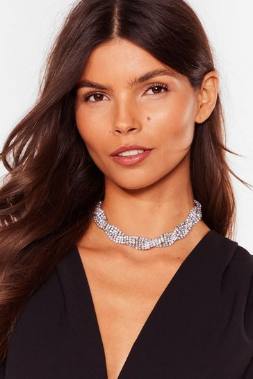 Silver It's a Shine Diamante Choker Necklace