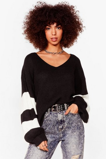 Black That's My Stripe Balloon Sleeve Knit Cardigan