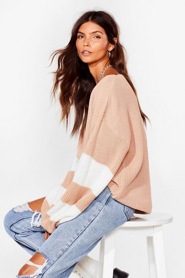Nude That's My Stripe Balloon Sleeve Knit Cardigan