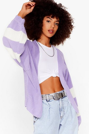 Lilac That's My Stripe Balloon Sleeve Cardigan