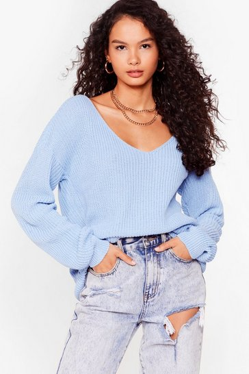 Baby blue 'Til V Work It Out Knitted Sweater