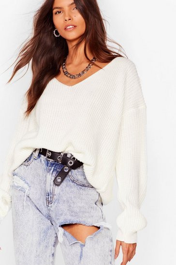 Cream 'Til V Work It Out Knitted Sweater
