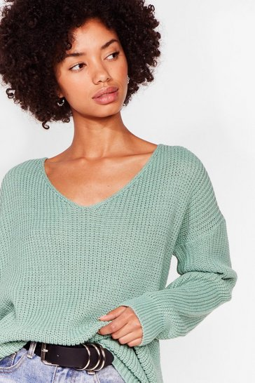 Sage 'Til V Work It Out Knitted Jumper