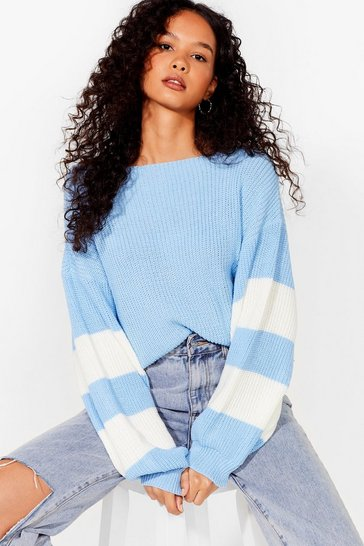 Baby blue Stripe on Time Knit Balloon Sleeve Sweater