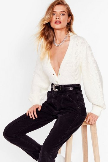 Cream Lay Your Cards on the Cable Knit Cropped Cardigan