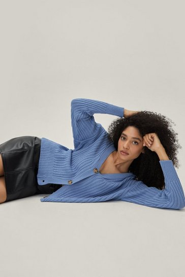 Blue Over Knit Button-Down Ribbed Cardigan