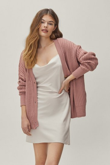 Rose Over Knit Button-Down Ribbed Cardigan