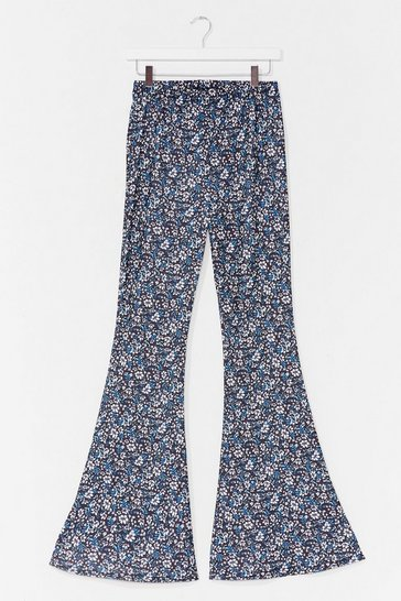 Blue Flare to Be Different Floral High-Waisted Pants