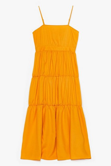 Mustard It'll End in Tiers Plus Maxi Dress