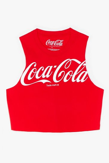 Red Coca-Cola Cropped Graphic Tank Top