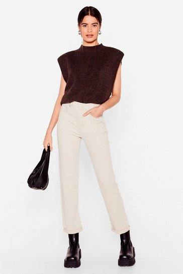 Stone Slim Tapered High Waisted Jeans