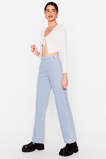 Light blue We've Seam You Before Wide-Leg Jeans