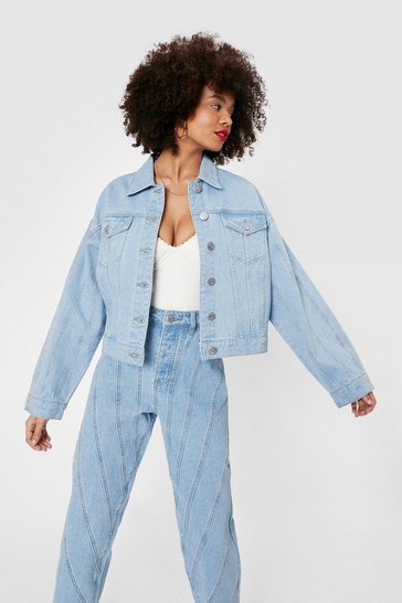 Light blue Relaxed Seam Detail Button Down Denim Jacket