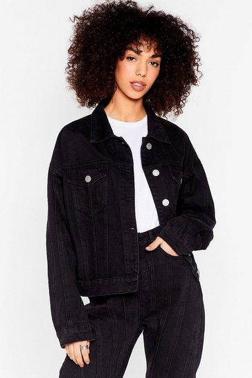 Washed black Relaxed Seam Detail Button Down Denim Jacket