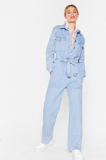 Light blue Working Hard Denim Belted Boilersuit