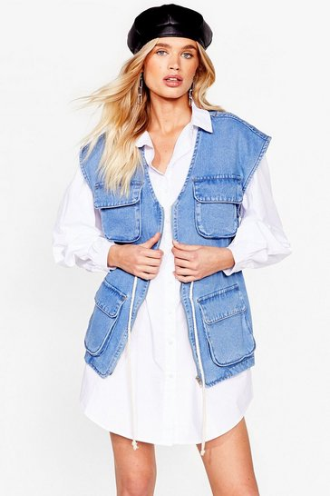 Light blue Oversized Sleeveless Denim Gilet