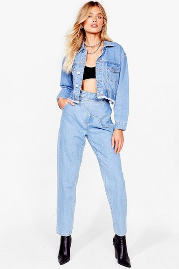 Light blue We'll Cover the Front Wrap Mom Jeans