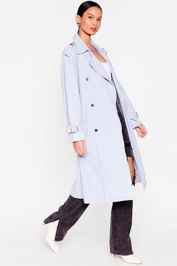 Light blue Long Time Comin' Denim Belted Trench Coat