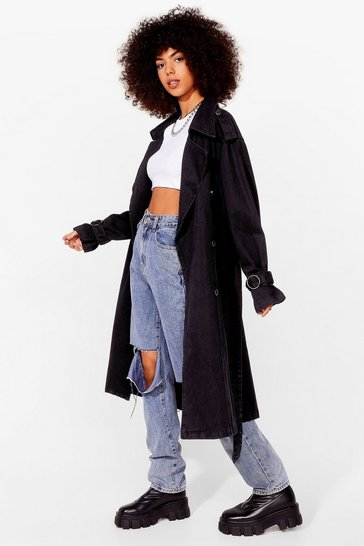 Washed black Long Time Comin' Denim Belted Trench Coat