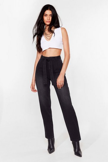 Washed black Let 'Em Tie Again Belted High-Waisted Jeans