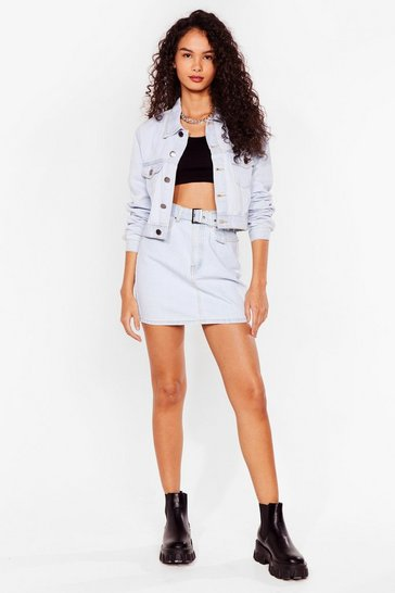 Light blue Belted Denim Mini Skirt