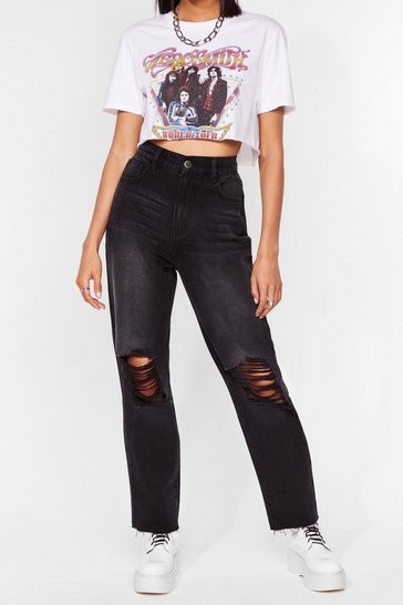 Light blue Distressed Straight Leg Jean