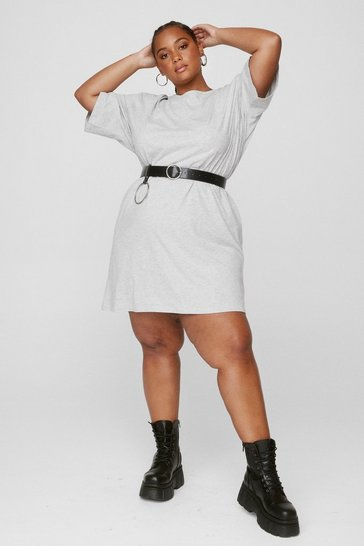 Grey Plus Size Crew Neck T-Shirt Dress