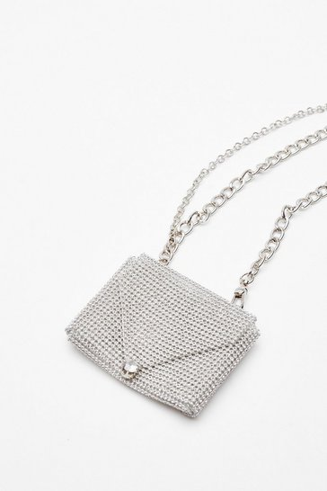 Silver WANT Shine Off Diamante Belt Bag