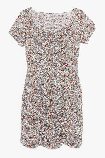 Green Bud By You Floral Mini Dress