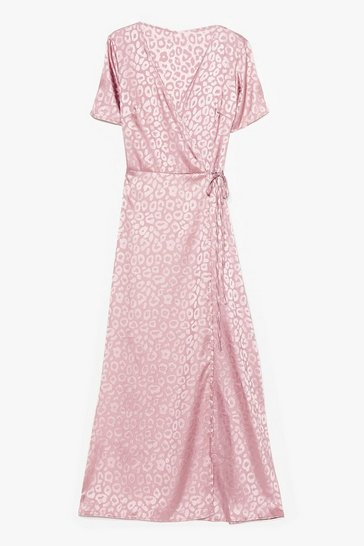 Pink Jacquard At Work Satin Midi Dress