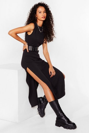 Black Slit the Ground Running Ribbed Midi Dress