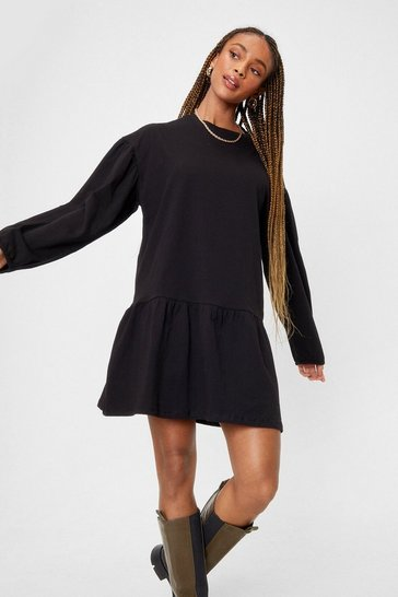 Black Drop What You're Doing Relaxed Mini Dress